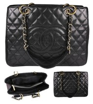 CHANEL Black Quilted Caviar Leather Gold Hardware Grand Shopping Tote Bag - $2,395.00