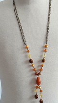 "32"" FLAPPER INSPIRED VINTAGE REPLICA CARNELIAN DANGLE NECKLACE, BRASS 2 ... - $4.94"