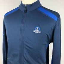 Adidas Golf Climawarm Golf Jacket Large Blue Navy 3 Stripes Atlanta Country Club - $24.65