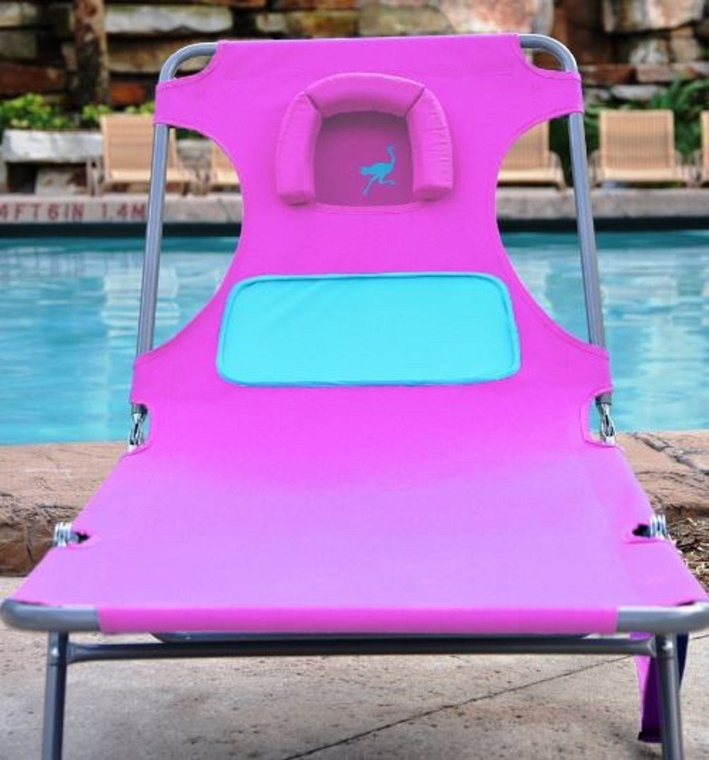 Pink Chaise Lounge Ladies Comfort Lounger Folding Chair Pool Deck Beach Ostrich