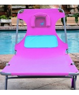 Pink Chaise Lounge Ladies Comfort Lounger Folding Chair Pool Deck Beach ... - $77.49