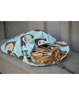 Vintage Laundry Clothes Line Pin Bag Wire Holder 100 Assorted Wooden Clothespins - $46.52