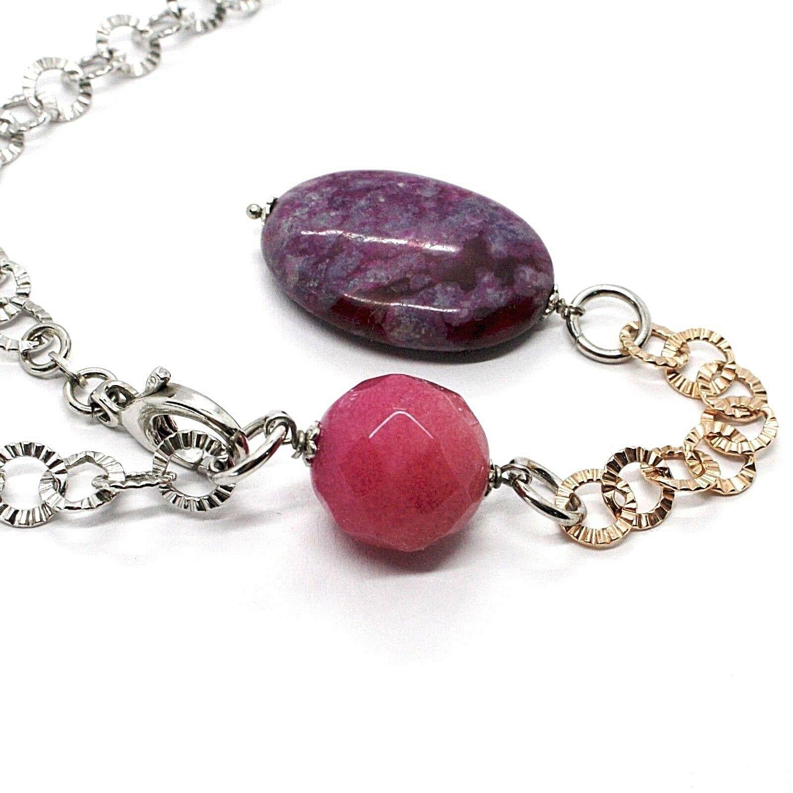925 Silber Halskette Pink, Jade Violet Oval, Kette Rolo Strukturiertes