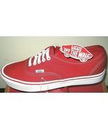 Vans Mens Authentic Lite Canvas Red White Skate Boat shoes Size 9.5 Clas... - $54.44
