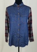 Bajee Collection women S denim plaid button down shirt long sleeve - $7.92
