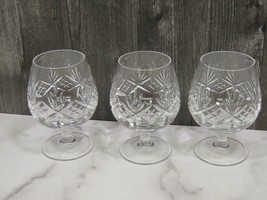 Set of 3 Tiffany & Co. Lead Crystal Brandy Snifter Glasses Newport Pattern - $83.16