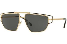 Versace Unisex Sunglasses VE2202 143687 57mm Gold-Black / Grey Lens - $445.50