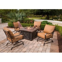 Aluminum Outdoor Furniture Patio Cast Metal Rocking Chair Set Firepit Ta... - $1,989.99