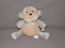 PRESTIGE STUFFED PLUSH TAN BROWN BEAN BAG MONKEY BABY TOY RATTLE GREEN B... - $23.75