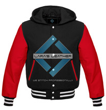 Men Black Varsity Hoodie Letterman Wool & Red Real Leather Sleeves - $74.99