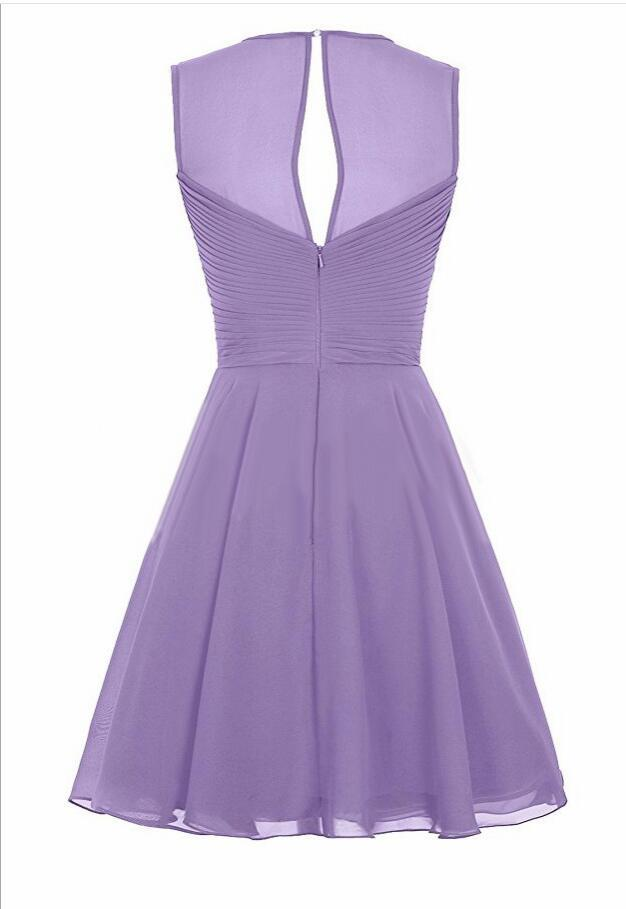Sheer Neck Sexy Lavender Chiffon Short Homecoming Dress 2018 Girls Pageant Gowns image 7