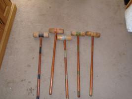 5 Vintage Wood Croquet Mallets replacement parts 25'' high antique - $24.99