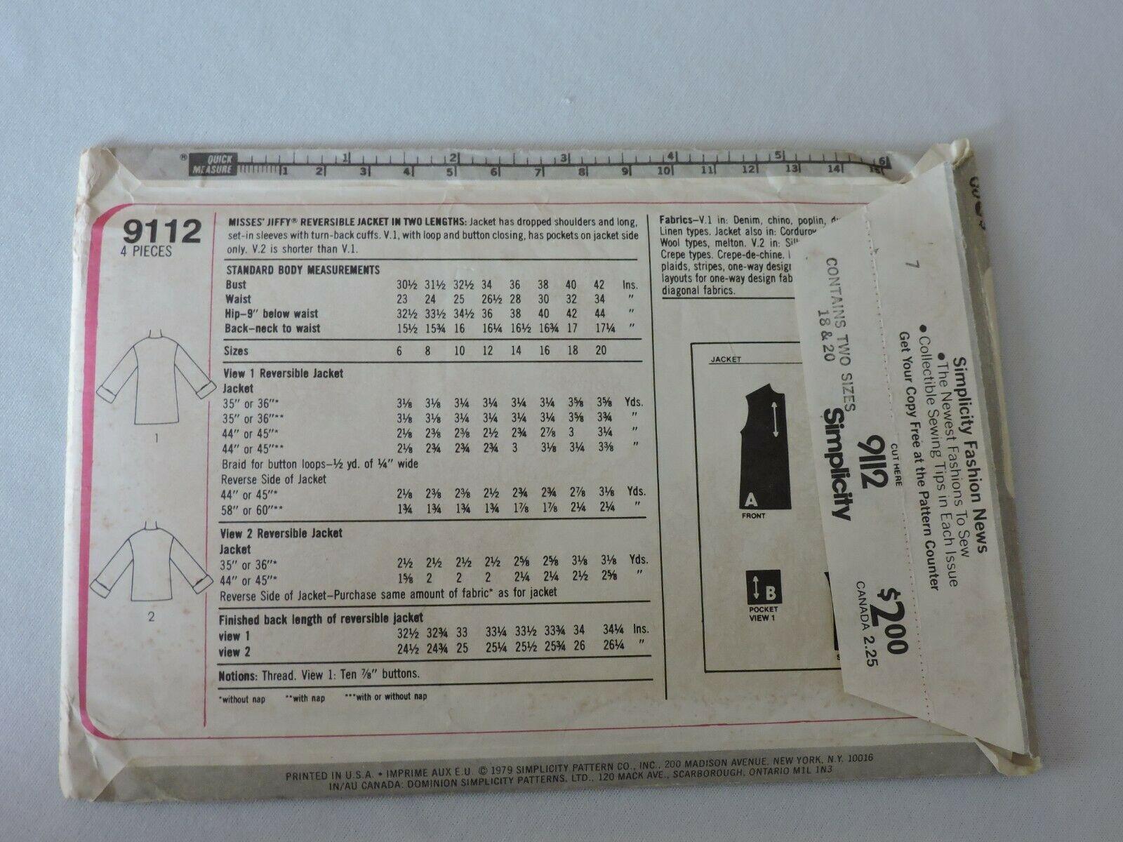 Simplicity Sewing Pattern 9112 Uncut Jiffy Reversible Jacket 1979 Vintage 18 20  image 4
