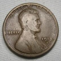 1913-S Lincoln Wheat Cent GOOD Coin AE407 - $8.80