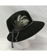 Bollmans Codette Spoon Hat Doeskin Felt 100% Wool Womens Black Feathers ... - $57.82