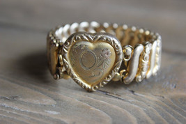 Antique Gold Filled Leading Lady Heart Bracelet - $118.79