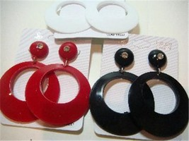 """RED WHITE BLACK CIRCLE DANGLE 80's RETRO EARRING 3"""" 3 INCH JEWELRY NEW - $6.95"""