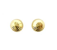 14k Gold Earrings Diamond Cut Ball Stud Screw Back woman, Children Adult... - $37.23