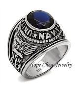 MEN'S STAINLESS STEEL BLUE CZ USA NAVY MILITARY VETERAN RING SIZE 8-13 - $16.64