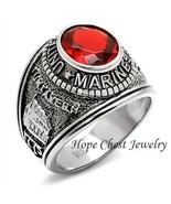 MEN'S ENGRAVED STAINLESS STEEL RED CZ USA MARINE MILITARY VETERAN RING S... - $16.64