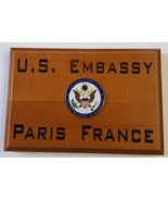 "U.S. Embassy Paris France Natural Cherry Wood Beveled Edge 4""X 6"" MADE I... - $37.12"