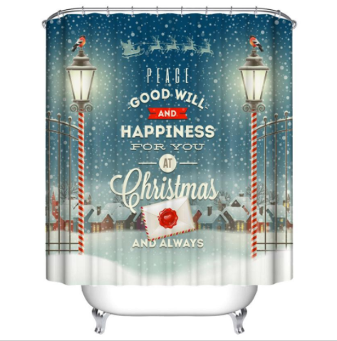 Christmas Natal 39 Shower Curtain Waterproof Polyester Fabric For Bathroom Decor