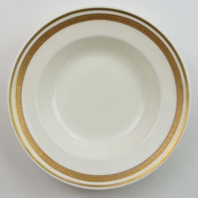 Royal Worcester Hotel China Soup Bow England Dinnerware Gold Band Tableware