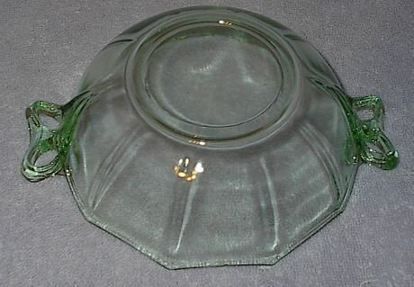 Depression Green Glass Handled Candy Dish Bowl