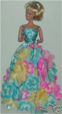 Blonde BARBIE Doll Blue Flowery Gown