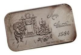 Fröhliche Weihnachten 1984 Von Krone Ungebraucht 1 Oz. Silber Kunst Barren - $54.45