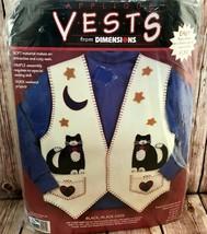Dimensions Black Cats Applique Vest #62091 Quick & Easy Cats Moon Stars Hearts - $12.73
