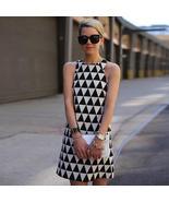Women's  Black and White Designer Triangle Fashion Print Dress - $23.89