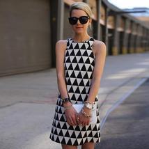 Women's  Black and White Designer Triangle Fashion Print Dress