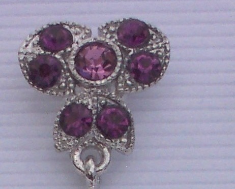 Purple Dangle Rhinestone Silvertone Earrings Clip