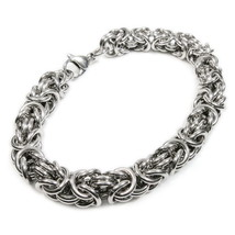 "Stainless Steel Round Byzantine Chain Bracelet 8mm 7"" - $10.49"