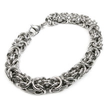 "Stainless Steel Round Byzantine Chain Bracelet 8mm 10"" - $11.99"