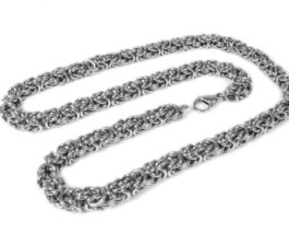 "Stainless Steel Round Byzantine Chain Men Necklace 8mm 30"" - $29.99"