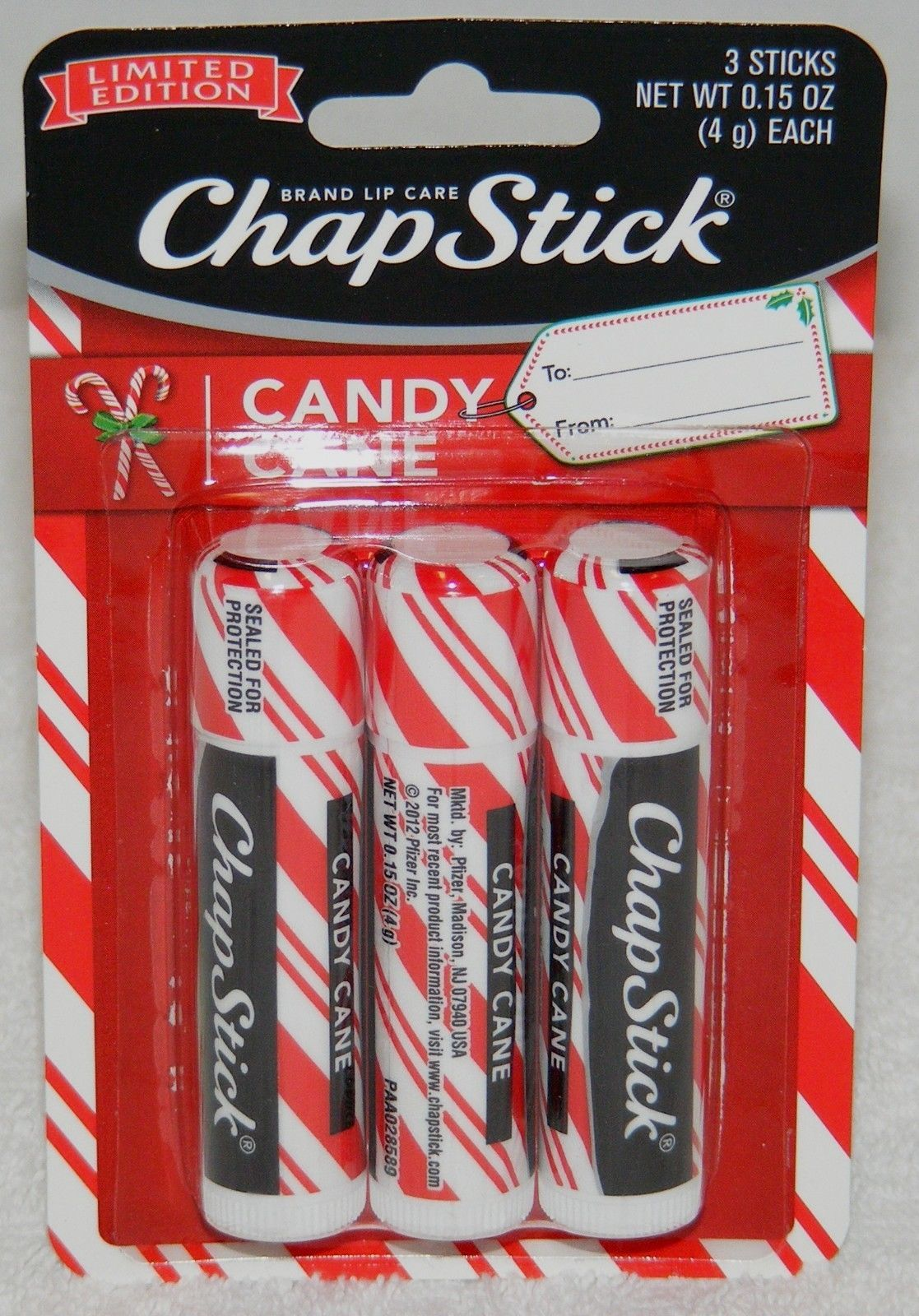 Primary image for 3 Pack CHAPSTICK Limited Edition CANDY CANE Peppermint Lip Balm Moisturizer