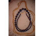 Lapis glass necklace gold tone chain thumb155 crop