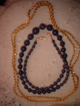 Lapis glass necklace gold tone chain thumb200