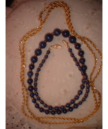 Vintage Jewelry Lapis Colored  Necklace Gold Tone Chain - $15.00