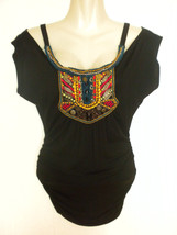 Numero Ethnic Oriental Embroidered Yoke Off Shoulder Black Top Blouse Small - $19.99