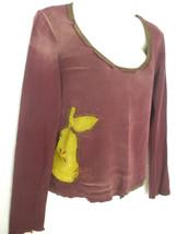 Miss Sixty Burgundy Green Apple Long Sleeve Top Sweater Jumper Medium Italy - $19.99