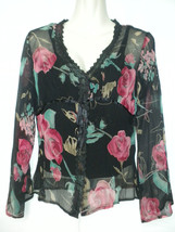 Tess Studio Black Sheer Silk Floral Long Sleeve Blouse with Camisole 4 P... - $19.79