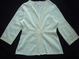 Crinkle Off White Ivory Cream Crochet Lace Trim Swimsuit Beach Cover Up ... - $14.99