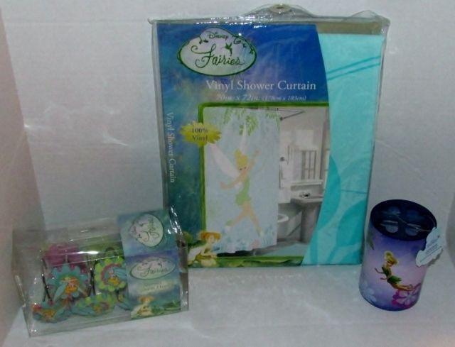 Disney Fairies Tinker Bell Bath Set Shower Curtain Hooks  Toothbrush Holder NEW - $45.00