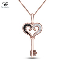 Women's Heart Shape Key Pendants W/ Chain Diamond Rose Gold Plated 925 S... - £33.33 GBP