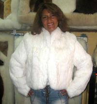 White chinchilla rex rabbit fur jacket, outerwear - $470.00