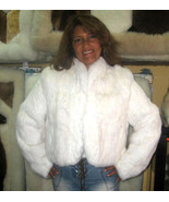 White chinchilla rex rabbit fur jacket, outerwear - $470.00