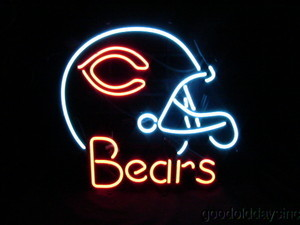 "NFL Chicago Bears Football Helmet Beer Bar Neon Light Sign 19""x17"" Free Shipping"